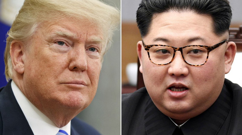 FILE- In this combination of file photos, U.S. President Donald Trump, left, in the Oval Office of the White House in Washington on May 16, 2018,  and North Korean leader Kim Jong Un in a meeting with South Korean leader Moon Jae-in in Panmunjom, South Korea, on April 27, 2018. Foreign journalists will get the chance to journey deep into the mountains of North Korea this week to observe the closing of the country's Punggye-ri nuclear test site, a much-touted display of goodwill ahead of leader Kim Jong Un's planned summit with President Donald Trump in June, 2018. (AP Photo/Evan Vucci, Korea Summit Press Pool via AP,  File)